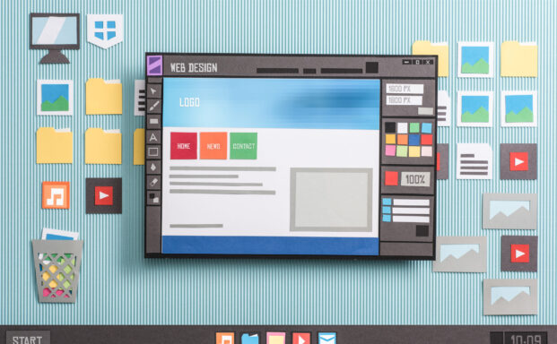 Web design templates and web page layout editing using a professional software, collage and paper cut composition